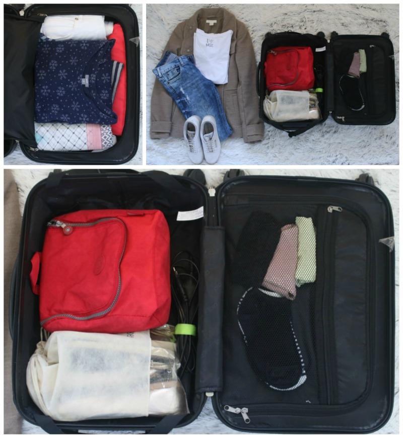 roupas na mala de mão