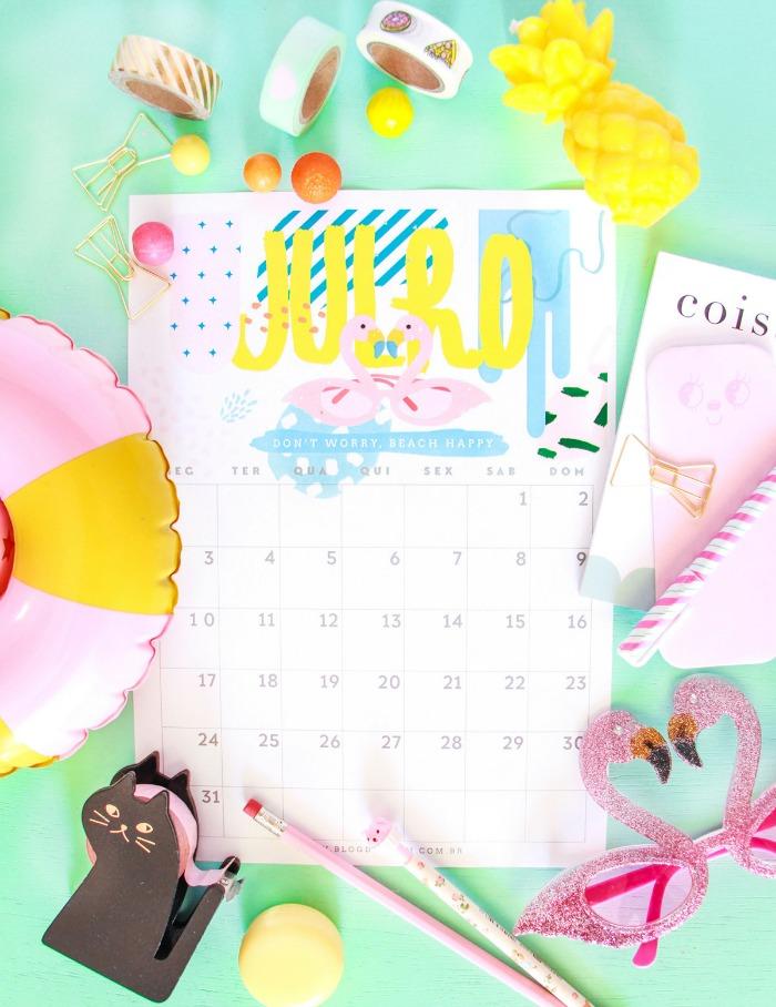 Calendário de julho: 5 modelos para baixar e imprimir | Blog Divirta-se Organizando